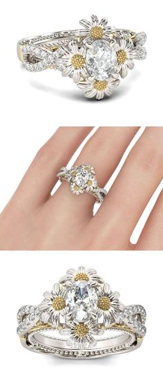 1c494c202 Two Tone Daisy Twist Oval Cut Sterling Silver Ring #daisy #flower  #daisyring #flowerring #diamondring #ring. Jewelry Shops Online