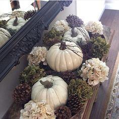 Neutral pumpkin fall table decor