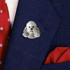 Poodle Gray Sport Cut Pin Button