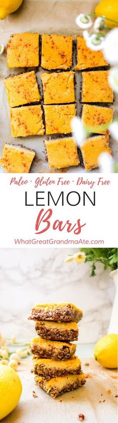Celebrate the warmer months with these fresh and light Gluten Free and Paleo Lemon Bars. They are a healthy treat that everyone will love! #healthydessert #dessert #glutenfree #paleo #dairyfree #grainfree #springdessert via @whatggmaate