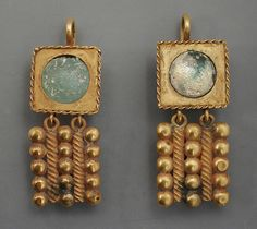 Antique Jewelry Pair of Gold Earrings,Eastern Mediterranean, Roman, century A. Jewelry and Adornments; earrings Gold Length: 2 in. Byzantine Jewelry, Medieval Jewelry, Ancient Jewelry, Antique Jewelry, Vintage Jewelry, Viking Jewelry, Antique Gold, Roman Jewelry, Jewelry Art