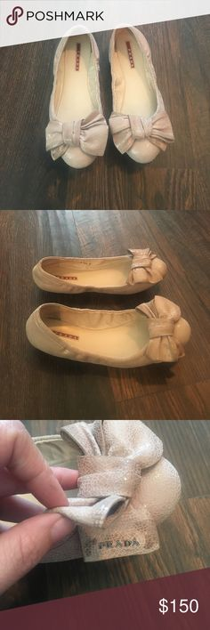 Flats, shoes, ballet flats, Prada Prada bow ballet flats Prada Shoes Flats & Loafers