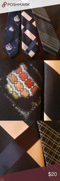 Vintage Wide Brown Necktie Bundle Wearable Art Vintage 1970s Wide Neckties Bundle of 3  Beautiful Condition ! Wearable Art ! Vintage Accessories Ties