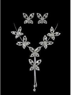 argent dames strass pièce deux des multi-pédalé les fleurs ensemble la conception de bijoux de mariage (45 cm) (011005857)