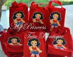 Superhero Favor Bags, Superhero Treat Bags, 10 Wonder Woman Favor Bags, Superhero Birthday Party, Wonder Woman Party, Batman Party