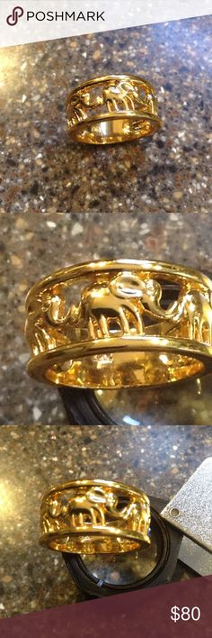 Elephant ring Stamp 10kt inside the band..Gorgeous 3 elephants holding each other tail..Gold fill ring Jewelry Rings