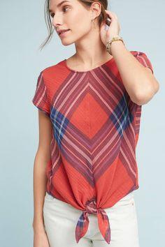 Slide View: 1: Plaid Tie-Front Blouse