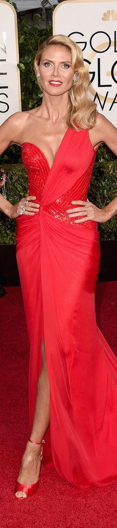 Heidi Klum in Versace 2015 Golden Globe Red Carpet