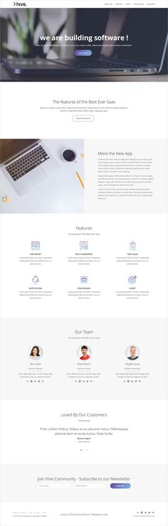 Hive is clean and modern design 3in1 responsive #HTML template for creative #software and #app landing page website download now..