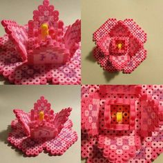 Floral centerpiece perler beads by japanda.co