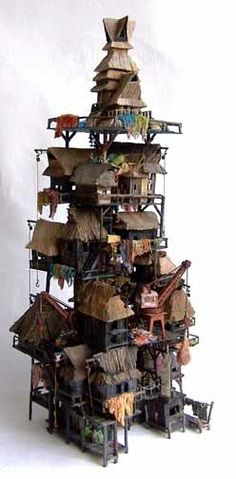 Fairy Skyscraper by Eric Cremers Sculptures Céramiques, Sculpture Art, Architectural Sculpture, Ceramic Houses, Tiny World, Paperclay, Miniature Houses, Fairy Houses, Art Plastique