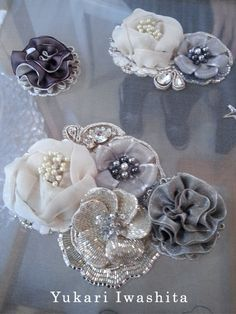 Tambour Beading, Tambour Embroidery, Couture Embroidery, Embroidery Fashion, Ribbon Embroidery, Embroidery Stitches, Ribbon Art, Fabric Ribbon, Fabric Flowers