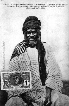 """""""Samory Touré - Sudanese Dyula.  A powerful Almamy (West African Muslim ruler), an enemy of France.  Captured in 1898"""" - Scanned vintage postcard 