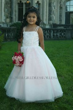 Pageant dress style 383 has a satin princess bodice with tulle overlay and scattered sequins and beads. Extra full tulle skirt adorned with clear sequins and glass beading in a swirl pattern. Kids Pageant Dresses, Girls Dresses, Dresses 2013, Holy Communion Dresses, Pink Flower Girl Dresses, Dresses For Less, Wedding Bridesmaid Dresses, Bridesmaids, Satin Flowers