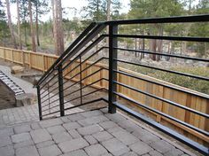 modern metal deck railings at DuckDuckGo Horizontal Deck Railing, Metal Deck Railing, Outdoor Stair Railing, Front Porch Railings, Modern Railing, Modern Porch, Front Stairs, Balcony Railing Design, Iron Stair Railing