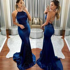 Navy backless formal/ prom dress by STUDIO MINC