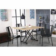 120x60 / 120x40 / 76 cm - Transformable en table à manger - Plateau relevable et extensible - En panneaux de particules - Décor chêne et métal noir.