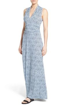 Vince Camuto Speckle Print Cutaway Shoulder Jersey Maxi Dress (Regular & Petite) available at #Nordstrom