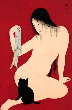 So sweet! A naked Japanese lady playing with a little kitten... Who does not love the feel of a cats fur against the naked skin?