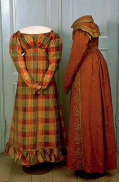 Fashionable garments worn by a young girl and her mother belonging to a rich merchant family in a small provincial town in Southern Sweden. Dress, silk and cotton, c. 1827, KM 17.926:2. Coat, wool, silk wool, linen lining, silk decor, 1810-1815.