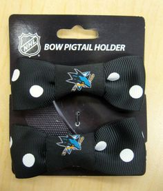 Bow with PigTail Holders-$5.00 - Get it exclusively at the Sharks Store at SAP Center. Text STORE to 74499 for Sharks Store deals! (msg rates may apply)