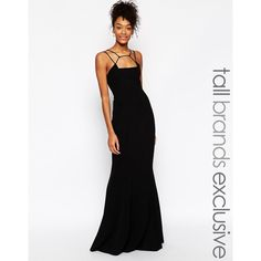 Jarlo Tall Jade Cage Strap Maxi Dress (125 BRL) ❤ liked on Polyvore featuring dresses, black, zipper front dress, maxi length dresses, zip front dress, tall maxi dresses and tall dresses