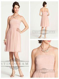 Point D'Esprit Strapless Knee Length Bridesmaid Dresses http://www.ckdress.com/point-desprit-strapless-knee-length-bridesmaid-dresses-p-42.html
