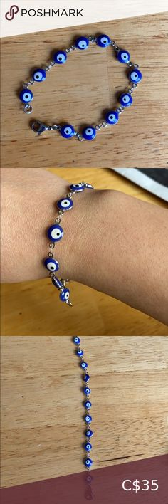 """🧿EVIL EYE STERLING SILVER BRACELET🧿 Got this at a jewelry kiosk I used to work at! 🧿Doesn't change colour 🧿Lobster clasp (my wrist is small) 🧿Each eye has its own """"character"""". 🧿The evil eye charm is supposed to protect you from jealous eyes, psychic attacks, and keep your aura protected. Open to offers! Bundle up & save :) Rainbow Jade Jewelry Bracelets Gold Link Bracelet, Ring Bracelet, Stone Bracelet, Bracelet Making, Sterling Silver Cross, Sterling Silver Bracelets, Jade Jewelry, Jewelry Bracelets, Pandora Heart Bracelet"""