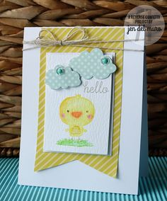 Card by Jen del Muro. Reverse Confetti stamp set: The Tweet Life. Confetti Cuts: The Tweet Life and Sun 'n Clouds.