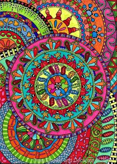 Drawing Doodles Ideas Draw Doodle and Decorate: Mandela Memory Doodles Zentangles, Zentangle Patterns, Mandala Pattern, Mandala Art, Circle Pattern, Fractal Art, Fractals, Circle Art, Hippie Art