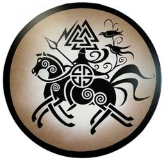 """""""Sleipnir (Norse, """"gliding one"""") is the legendary eight-legged horse belonging to Odin, the Father-God of the Norse pantheon. Sleipnir carries Odin between the world of the Gods and the world of matter. The eight legs symbolize the directions of the compass, and Sleipnir's ability to travel through both land and air."""""""