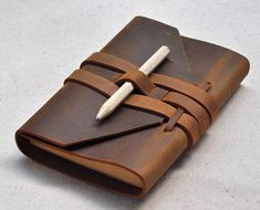 Your place to buy and sell all things handmade Leather Book Covers, Leather Books, Leather Gifts, Leather Bags Handmade, Leather Craft, Diy Leather Notebook Cover, Handmade Notebook, Handmade Journals, Handmade Books