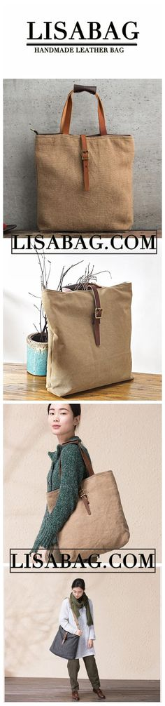 Handmade Canvas Tote Bag Handbag for Women Messenger Bag in Khaki 14099