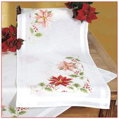 Red and Pink Poinsettias Table Runner - Cross Stitch, Needlepoint, Embroidery Kits – Tools and Supplies