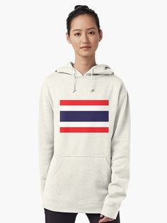 """Flag Of Thailand"" Pullover Hoodie by ArgosDesigns   Redbubble Thailand Flag, Indie Art, Flag Shirt, Hoodies, Sweatshirts, Tshirt Colors, Chiffon Tops, Classic T Shirts, Pullover"