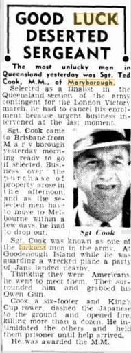 1946 Sgt Ted Cook,Military Medal, was the most unlucky man in Qld yesterday. Selected as a finalist in the Qld section of the army contingent for the London Victory March, he had to cancel his enlistment due to urgent business commitments. Military Personnel, Good Luck, Brisbane, Victorious, Ted, March, Cook, In This Moment, London