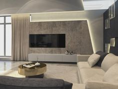 This contemporary private villa interior is a project designed by Russian architect Shamsudin Kerimov and covers an area of 310 sqm. Photos by Shamsudin KerimovHouse in Moscow by Shamsudin Kerimov « HomeAdore Tv Lounge Design, Tv Wall Design, House Design, Decor Interior Design, Modern Interior, Deco Tv, Living Room Tv Unit Designs, Muebles Living, Tv Wall Decor