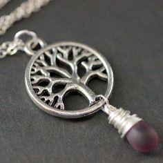 Tree of Life Pink//Purple Sunset Glass Pendant Necklace