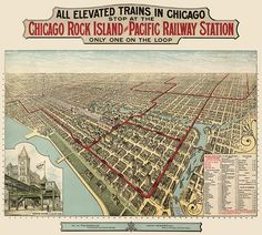 Antique map of Chicago showing elevated train routes, 1897