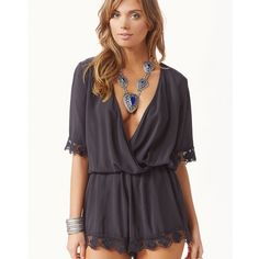 """LAST ONE size small black Blue Life boho romper This Blue Life 3/4 Sleeve Boho Romper is composed of a sexy soft fabric. It features lace detailing and a deep v-neck cross front.  Made in USA Dry Clean 100% Rayon Fit Guide:  Model is 5ft 9 inches; Bust: 33"""", Waist: 24"""", Hips: 34"""" Model is wearing a size XS Relaxed fit Blue Life Other"""