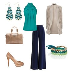 Women's outfit ideas - outfits for the office - work outfits - chic - turquoise - patent leather bag - patent leather pumps - wide leg pants - stackable beaded bracelets - cardigan