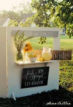 dear lillie: homemade lemonade stand and signs.would make a perfect puppet theater, too! Enjoy Summer, Summer Fun, Summer Time, Outdoor Games, Kids Lemonade Stands, Ice Cream Stand, Fresh Squeezed Lemonade, Dear Lillie, Homemade Lemonade