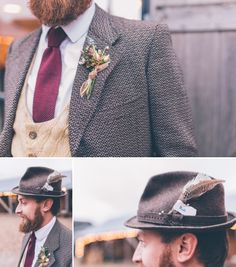 Groom in country tweed suit and hat // Cosy winter wedding at River Cottage // Larissa Joice Photography // The Natural Wedding Company