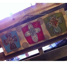 Beautiful Hand Painted Triple Cross Canvas