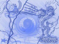"""Dragon Energy"". En esta imagen se utilizaron los pinceles Chinese_dragons; Floral1_brush; lightning; Galactic_2. Fuente QualityStreet. Medidas 1024x768 pixeles. Orientación Horizontal."