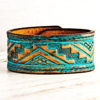 Turquoise Wristband Tribal Gypsy Fashion OOAK by rainwheel on Etsy