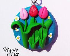Portachiavi Tulipani in Pasta Polimerica - Fimo
