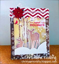 Christy Gets Crafty - 2014 Holiday Card Series - using WPlus9 Winter Woodland