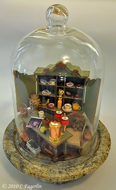 "The Little Round Table: My ""Cloche"" To Perfect Day.    A lovely idea for a dolls house miniature display. Easy to do and very effective."