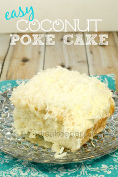 This Coconut Poke Cake light and luscious and oozing with coconut flavor. It's no wonder why it's one of my favorite easy dessert recipes.